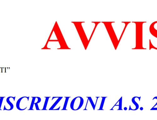 Avviso Iscrizioni A.S. 2018/2019