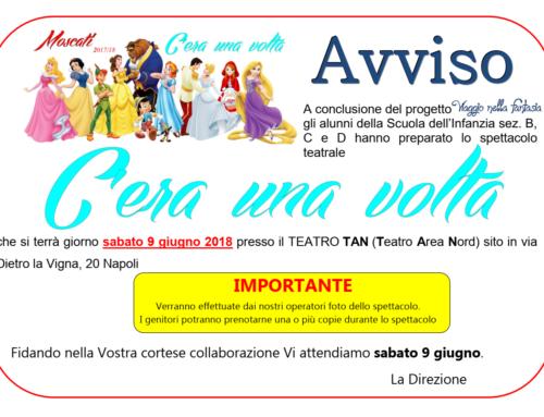 AVVISO: Recita di Fine Anno Infanzia B, C, D – 09 GIUGNO 2018