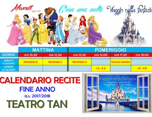 AVVISO: Calendario Recite di Fine Anno  2017-2018